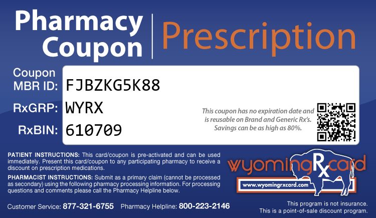 Wyoming Rx Card - Free Prescription Drug Coupon Card